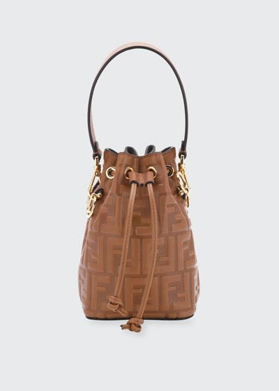 Mon Tresor Mini FF-Embossed Leather Bucket Bag