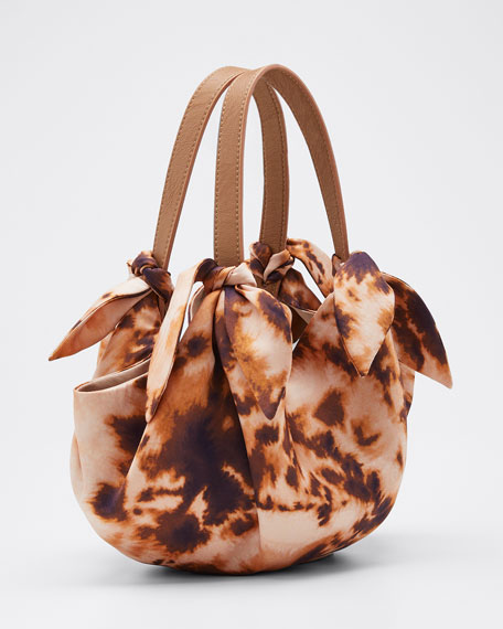 Silk Printed Mini Inda Top Handle Bag