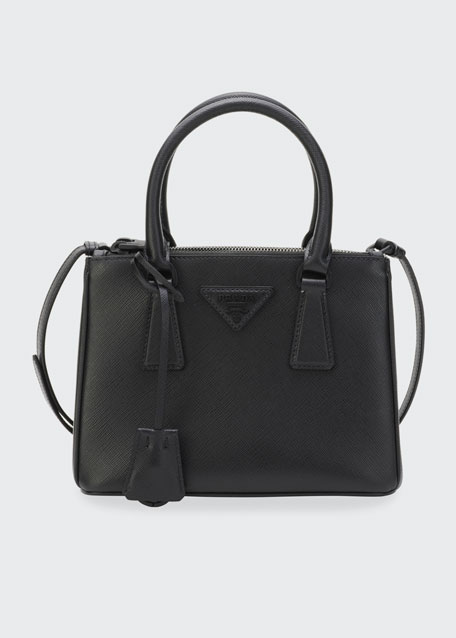 Saffiano Small Dual-Zip Satchel Tote Bag