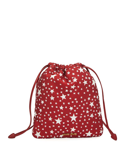 Faille Stelle Drawstring Pouch Bag