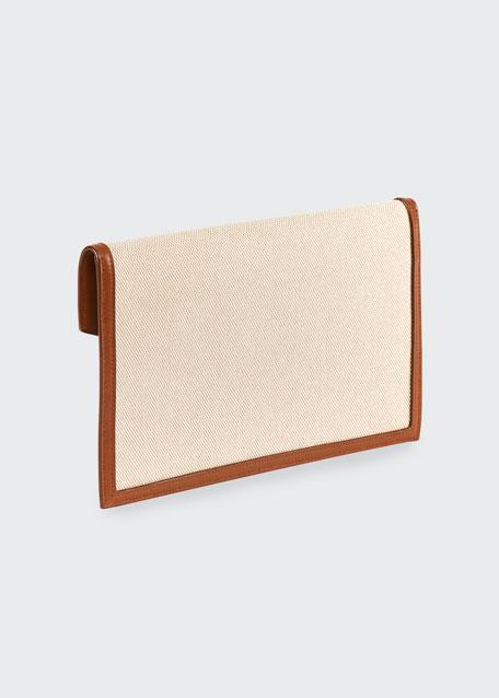 Uptown Medium YSL Monogram Canvas Clutch Bag