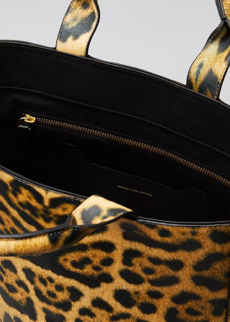 Leopard-Print Tote Bag with Shoulder Strap