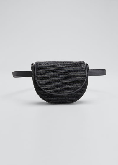 Raffia and Monili Striped Half-Moon Crossbody/Belt Bag
