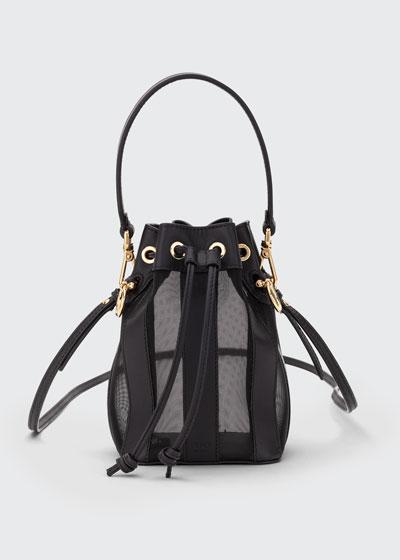 Mon Tresor Mini Leather & Mesh Bucket Bag