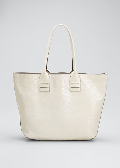 Glossy Textured Leather Large Tote Bag
