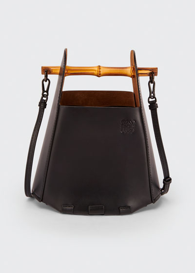 Leather Bamboo Top-Handle Bucket Bag