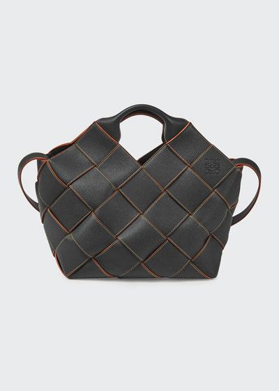 Woven Leather Basket Bag