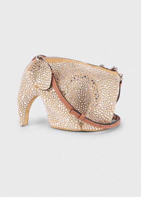 Image 1 of 1: Elephant Suede Strass Mini Crossbody Bag