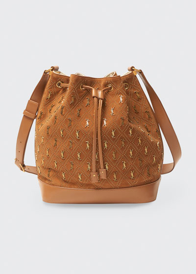 Mixed Leather YSL Studded Bucket Bag