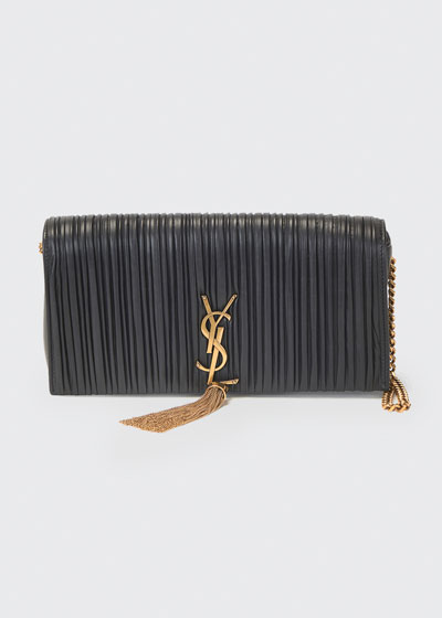 Kate Pleated Lambskin Tassel Shoulder Bag