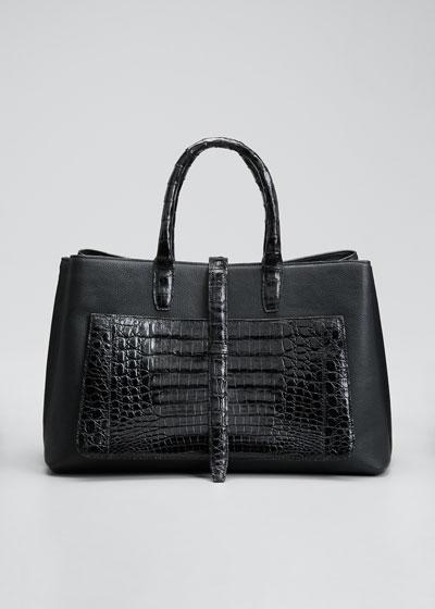 Astrid Large Crocodile & Leather Tote Bag