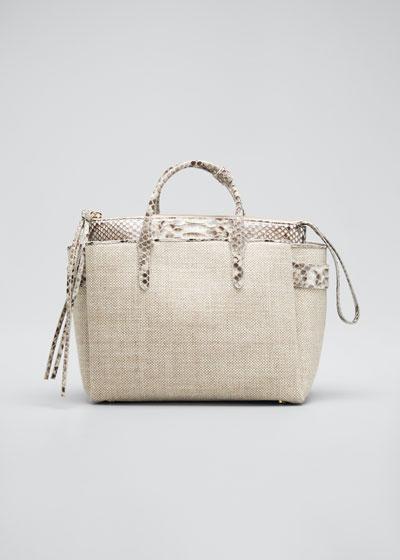 Cristie Medium Python & Linen Tote Bag