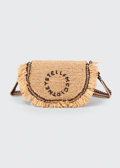 Crochet Raffia Logo Shoulder Bag