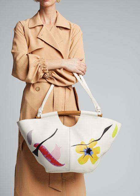 Floral Wooden Handles Large Market Tote Bag