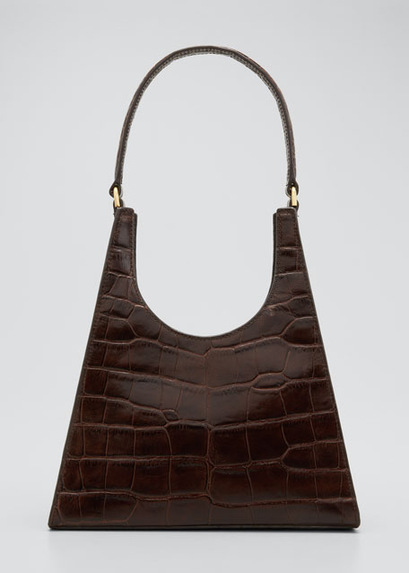 Image 1 of 1: Rey Croc-Embossed Hobo Bag