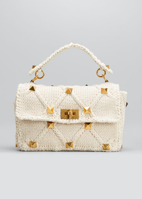 Image 1 of 1: Roman Crochet Stud Top Handle Bag