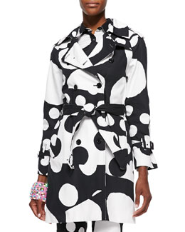 Mixed Polka-Dot Print Trench Coat, Black/White