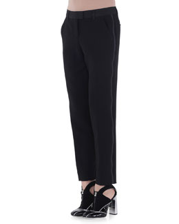 Side-Striped Slim-Fit Pants, Black