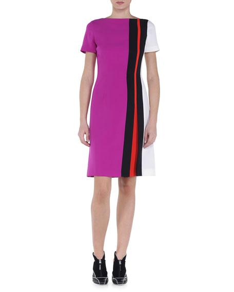 Contrast Intarsia Striped Dress