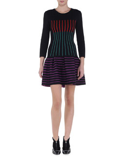 Multicolor Striped Drop-Waist Dress