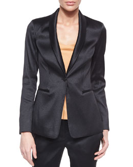 Satin Single-Button Tuxedo Jacket, Black