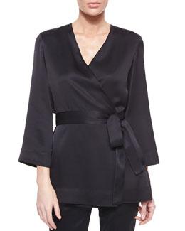 Kimono-Sleeve Wrap Top, Black