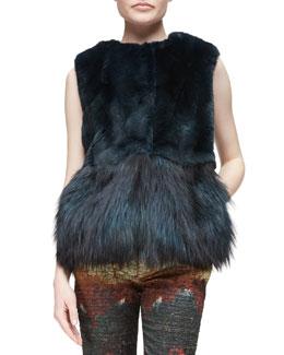 Peplum Fur Vest, Dark Green