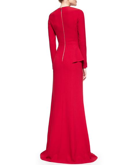 Long-Sleeve Crossover-Ruffled Gown