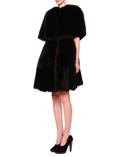 Convertible Capelet Shearling Fur Coat