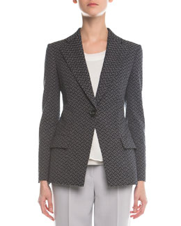 Abstract Jacquard Single-Button Blazer