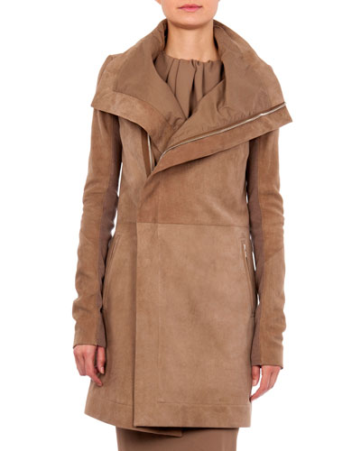 Long Suede Biker Jacket, Fawn