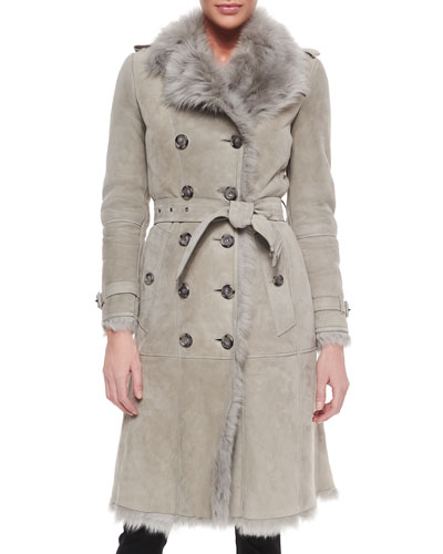 Double-Breasted Shearling Fur Trenchcoat