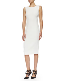 Sleeveless Double-Face Sheath Dress