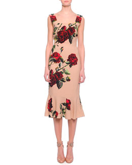 Rose-Print Flounce Hem Dress