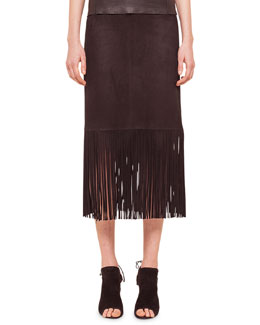 Long-Fringe Trimmed Suede Pencil Skirt