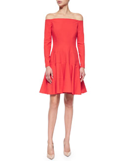 Off-The-Shoulder Tiered Dress, Red