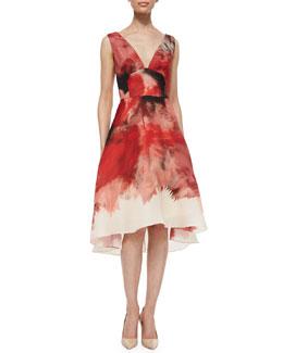 Brushstroke-Border V-Neck Dress, Red