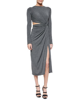 Cashmere Jersey Twisted Cutout Dress