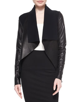 Leather-Bonded Draped Jacket