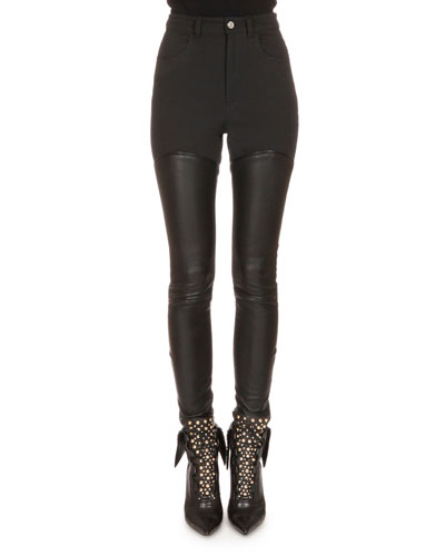 Leather Lace-Up Back Combo Pants