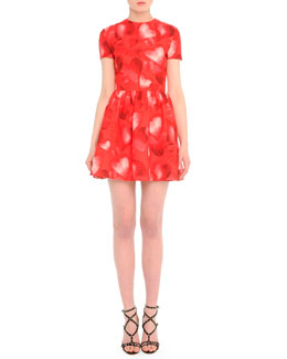 Short-Sleeve Heart-Print Fit-And-Flare Dress