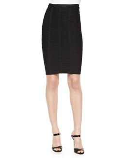 Bandage Knit Pencil Skirt, Black