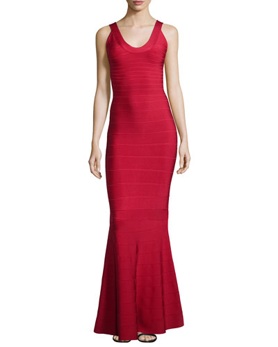 Scoop-Neck Bandage Knit Gown, Red