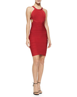 Cutout-Back Halter Bandage Dress
