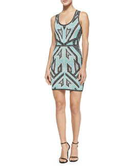 Geometric Ikat Bandage Tank Dress