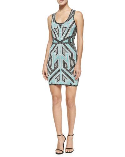 Geometric Ikat Bandage Tank Dress