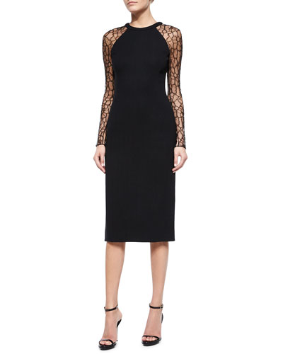 Long-Lace-Sleeve Slim Dress, Black