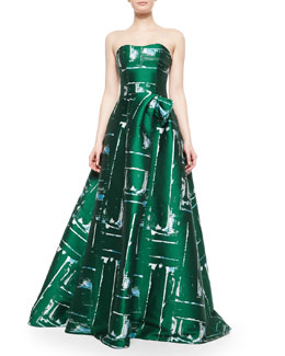 Strapless Abstract Paintbrush-Print Gown
