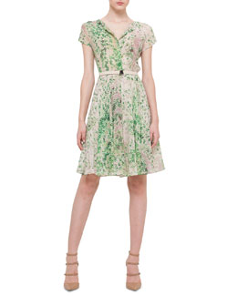 Clover-Print Crepe Fit-And-Flare Dress