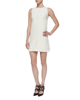 Wool Crepe Sleeveless Braid-Trim Dress